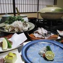 河豚コース料理一例