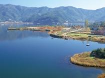 当館「富士山展望台」から仰ぎ見る河口湖