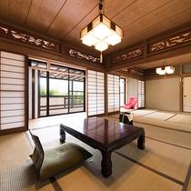 *『房総』半露天風呂付和室は欄間に松や鳥の装飾が施されており目を楽しませます。