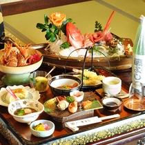 *【夕食一例/デラックス】基本料理に「伊勢海老の鬼殻焼」と「アワビの踊り焼」が付いたお食事です。