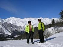 峰方スキー場から白馬三山を望む