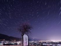 おばすて 田毎観音と星空 善光寺平夜景(冬)