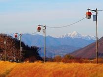 千曲川万葉公園から望む、高妻山と戸隠連峰雪景色(徒歩10分)