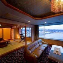 【川側】絶景!14畳+ツインベッド+リビングのゆったり和洋室