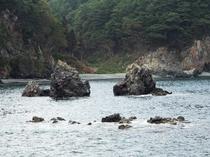 みやこ浄土ヶ浜遊覧船から臨む「夫婦岩」