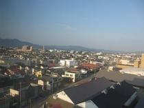 レストラン見える鶴岡の風景