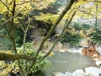 紅葉時季の露天風呂「鬼のすみか」