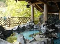信玄公岩風呂「渓流雅之湯」新緑