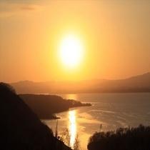網走湖の夕陽