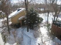 雪の中の森のゲストハウス