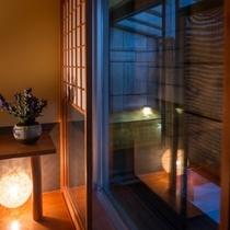 【半露天風呂付き客室】客室露天風呂では蔵王の風を感じながらオリジナルアロマバスが楽しめます