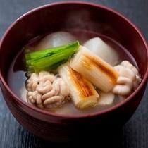 【ご夕食一例】 白子のお椀は女性に特に人気の逸品です。