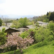 【外観】 当館のすぐ裏手にある山側からみた名月荘。自然のすぐそばに当館は立地しています。