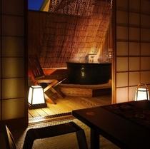 陶器の露天風呂が付いた客室