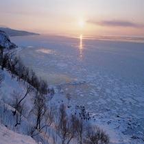 流氷&夕陽