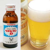 ビジネスマンをサポート!缶ビール&栄養ドリンク(商品は一例です)