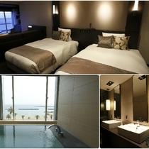 リニューアル客室/高層階/エグゼクティブ/2~3ベッド/海を眺めるビューバス付