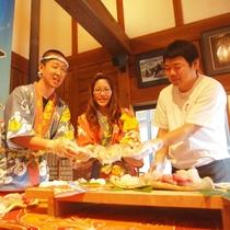 朝獲れの地魚のピチピチにぎり寿司体験。