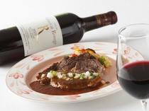 牛リブロースとワイン