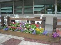 たくさんのお花に囲まれたテラス