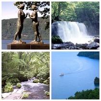新緑の十和田湖・乙女の像・奥入瀬渓流・銚子大滝