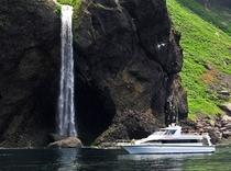 小型クルーザーは、岸の間近まで近づくことができ、目の前に断崖絶壁がせまる風景は感動の連続です。