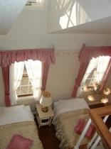メゾネットです。1室公開しています。天井が高く、ロフトに寝台がひとつあります。ここが大好きな方、けっ