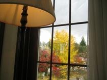 洋室ツインの部屋から庭を見ています。窓とランプが秋の日の風情です。