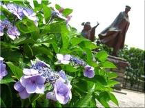 貫一・お宮と紫陽花(6月)