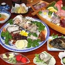 南伊豆子浦 海鮮三昧プラン 夕食例