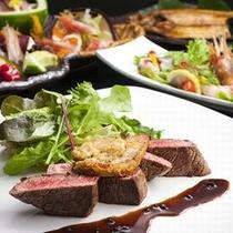 <レストランスラローム>冬のお食事一例。北海道の食材を多彩にアレンジしたお料理をご堪能ください。