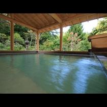 湯船に浸かりながら季節で彩る日本庭園とかけ流しの温泉をどうぞ!