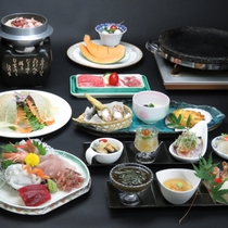 【夏の献立】琥珀コース。茨城の肉『常陸牛・奥久慈しゃも・美明豚』を石焼で。新鮮な御造里も♪