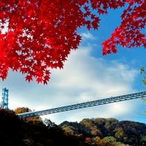 【竜神峡の紅葉】当館から46km、約1時間10分。11月中旬から下旬が見頃