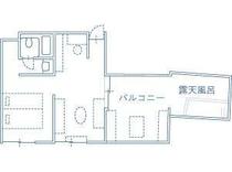 Tルーム平面図・露天風呂&バルコニー付 2部屋タイプ(ツイン)