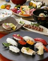 【福鮨】炙りトロが付いた夜のおすすめ会席「福鮨膳」です。