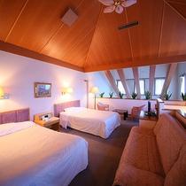 和洋室 最上階メゾネット ツインベッド+8畳 ≪特別室≫