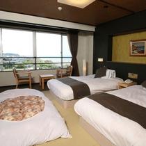 2016年2月改装【和室ベッドタイプ】琉球調畳にシモンズ製ベッド2台を備えた新しい和空間。(トイレ付