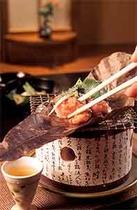 追加料理 福島県ブランド鶏 川俣軍鶏の朴葉焼 自家製味噌が絶品です。