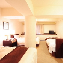 トリプルルーム 広さ23㎡、ベッド幅100cm