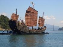 海賊船を使った海上ロケ