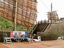 ドラマ平清盛に登場する海賊船ロケセットを展示中