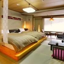 【ベッド部屋】  *和モダンのお部屋ですべての年代のお客様に人気があります。