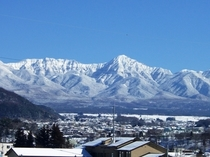 ホテルから見える冬の八ヶ岳