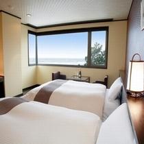 【オーシャンビュー・デザイナーズツイン】日本海を眺め、ゆったりと寛げるデザインルーム