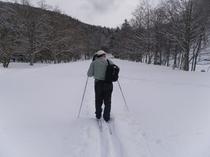 スキーをはいて!
