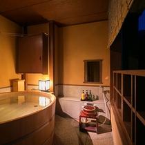 【別邸そらの庭】5階≪青嵐・野分・風花≫ 丸くてかわいい木のお風呂です(写真は「風花」客室露天風呂)