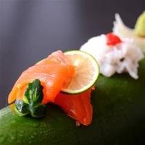 群馬県産ブランド鱒『ギンヒカリ』のお造り 季節の献立 一例