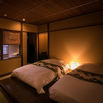 【別邸そらの庭】5階≪青嵐・野分・風花≫とても落ち着ついた雰囲気のベッドルーム (写真は「野分」)