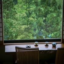 大きな窓から見えるのは大自然。都会の喧騒から離れほっとする時間です…